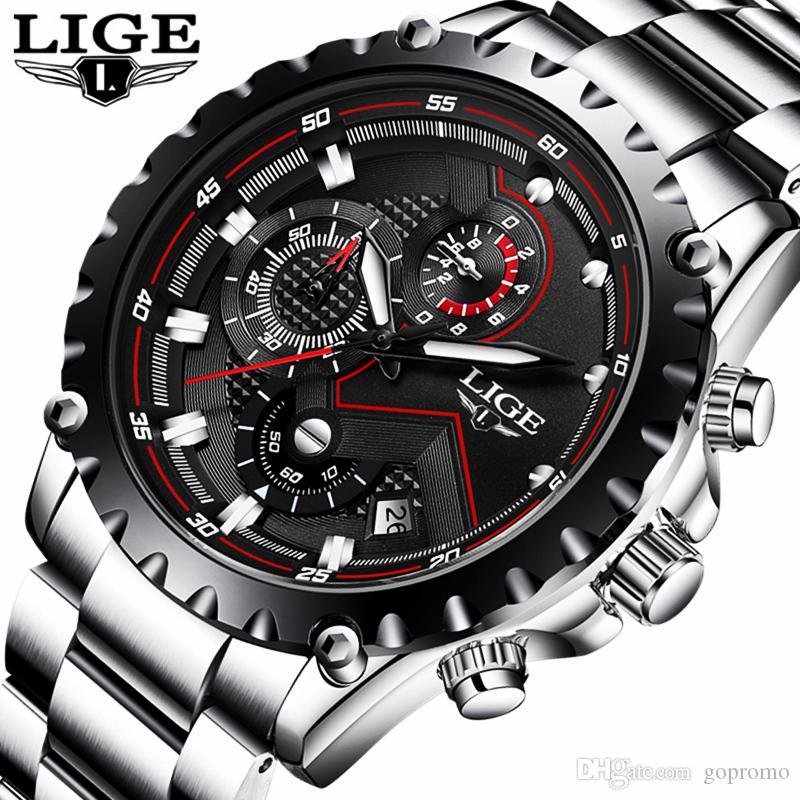 0ef94ff4c23 Compre LIGE Moda Esporte Relógio De Quartzo Mens Relógios Top Marca De Luxo  De Aço Completa Negócio À Prova D  Água Relógio Relogio Masculino De  Gopromo