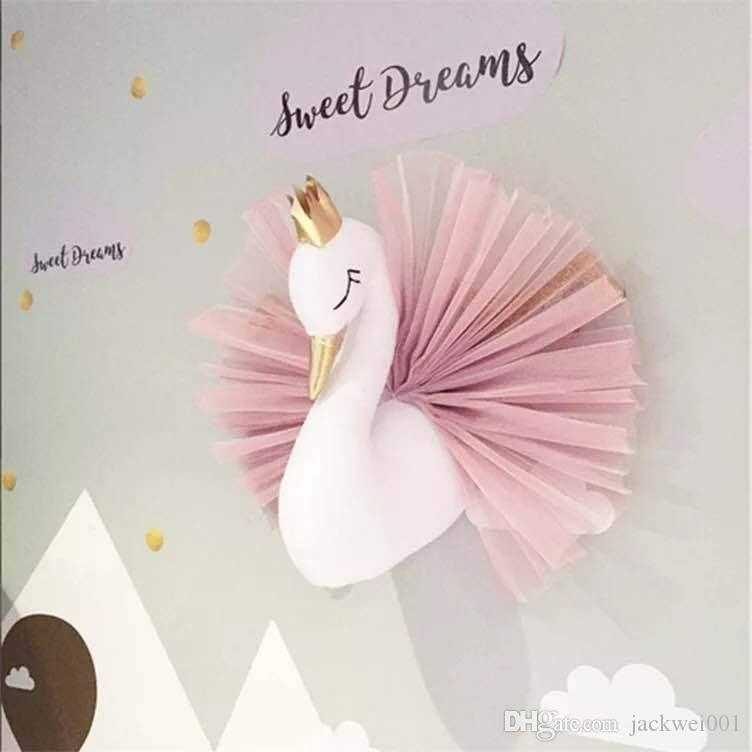 Animal Wall Wall Decoration Swan Wall Hanging Mount farcito Swan Toys Doll per le ragazze Baby Kids Nursery Room Decor Regali di compleanno