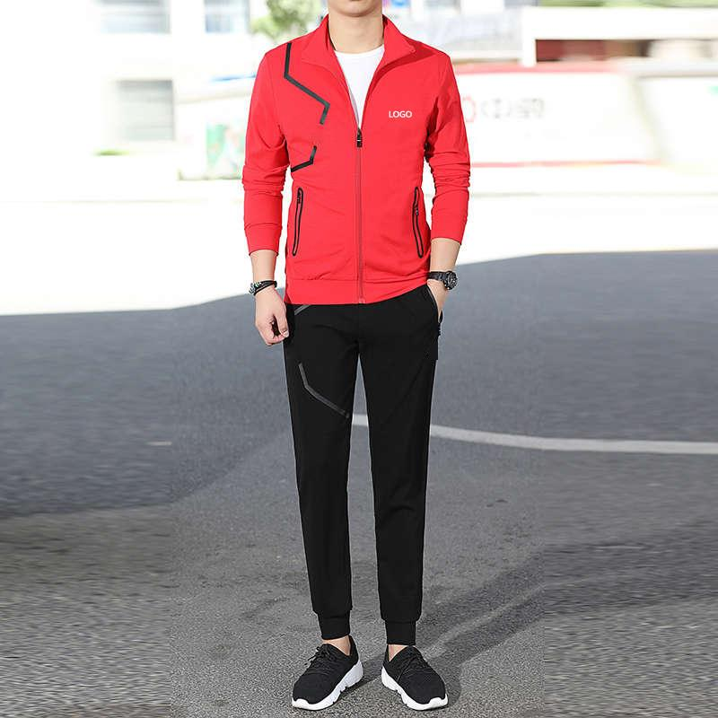 Brand New Fashion Luxury of Men's Casual Tracksuits 2018 New Arrival Men's Lightweight Sport Casual Suit Color Black Red Size L-5XL