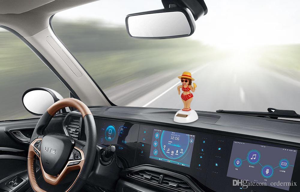Car Ornament Solar Powered Dancing Shaking Head Cartoon Unicorn Doll