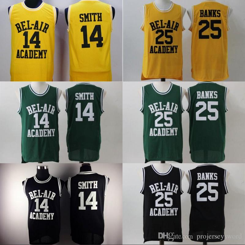 2a2f92a5f349 2019 Mens BEL AIR Academy Movie Jersey  14 Will Smith  25 Carlton Banks  Basketball Jerseys Yellow Black Green High Quality Wholesale From  Projerseysword