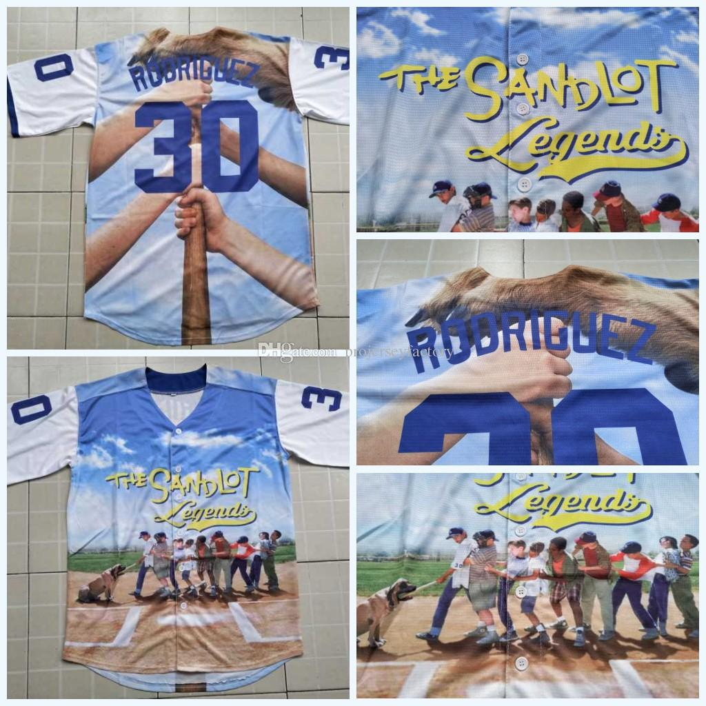 5443bd924 3D Printed Baseball Jersey The Sandlot Legends 30 Benny  The Jet  Rodriguez Baseball  Jersey Mens 3D Shirt S-3XL High Quailty 3D Printed Baseball Jersey The ...
