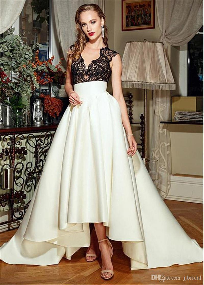 35627f9345 High Low Satin Prom Dresses With Black Lace Applique Top A Line V Neck  Sleeveless Illusion Bodice Sweep Train Formal Long Evening Gown Sexy Dresses  Cheap ...