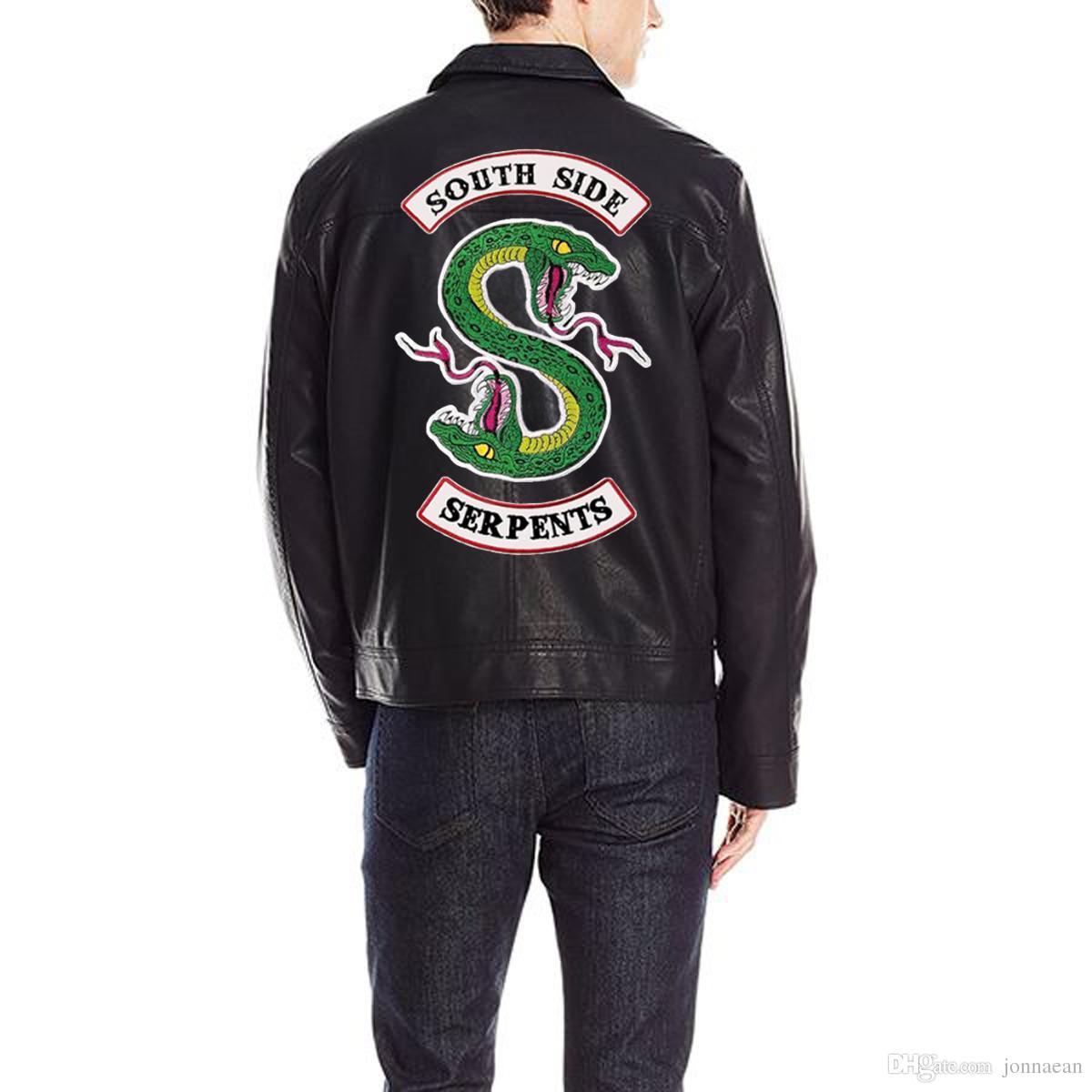 Riverdale SouthSide Вернуться Патчи Вышитые Утюг на мотоциклетной куртке Байкерная куртка Жилет двух размеров Мужской и женский знак моды Индивидуальный дизайн