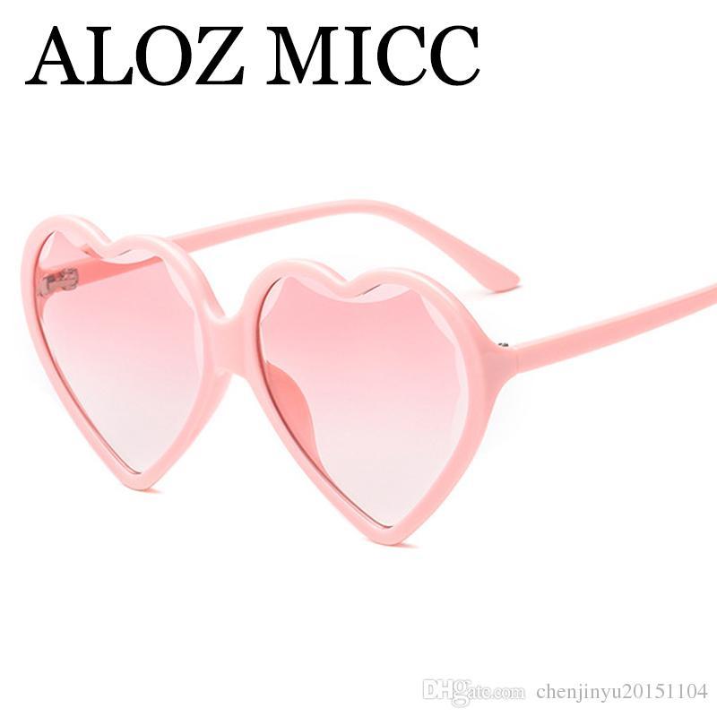 24f76711c Compre ALOZ MICC Moda Coração Óculos De Sol Das Mulheres Designer De Marca  Retro Rosa Vermelho Preto Amor Em Forma De Coração Óculos De Sol Para  Senhoras ...