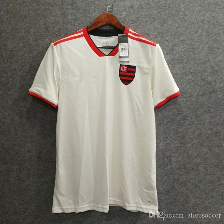 1326b462bd59b Compre       18 19 Flamengo Camisa De Futebol Fora Branco Nome  Personalizado Número Diego 10 Guerrero 9 Camisas De Futebol De Alta  Qualidade De Alicesoccer
