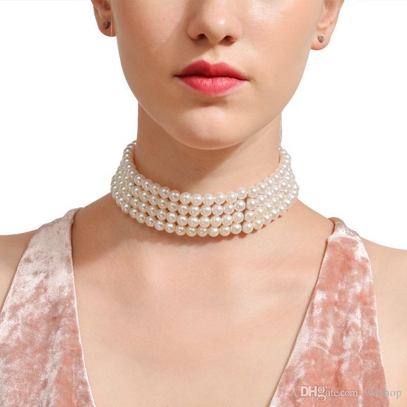 Multi-Couche Imitation Perles Foulard Collier De Mode Chaîne Courte Collier Pour Les Femmes Déclaration Bijoux Livraison Gratuite