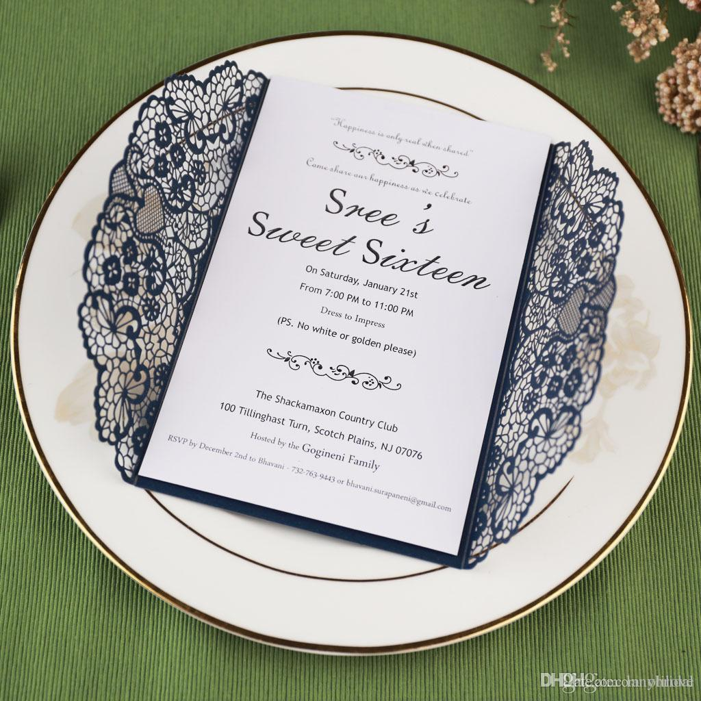 2019 Laser Cut Pocket Wedding Invitation Suites Custom Inner Sheet