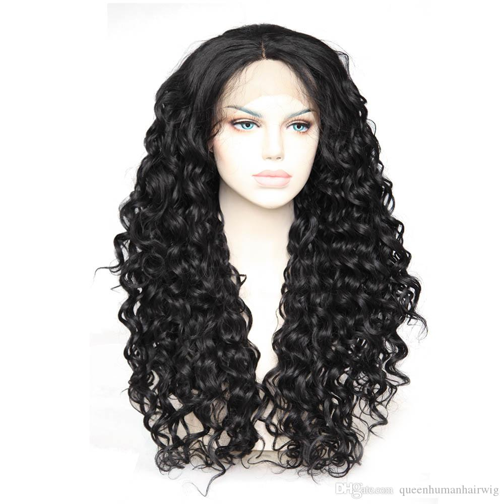 Layered Synthetic Glueless Lace Front Wig Curly #1b black Color Synthetic Fiber Lace Wig for women