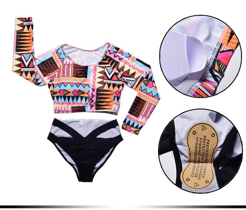 5XL Floral Bikini de gran tamaño de las mujeres hombro largo más traje de baño de tamaño traje de baño Big Bikini Set traje de baño Monokini Bikini brasileño traje de baño