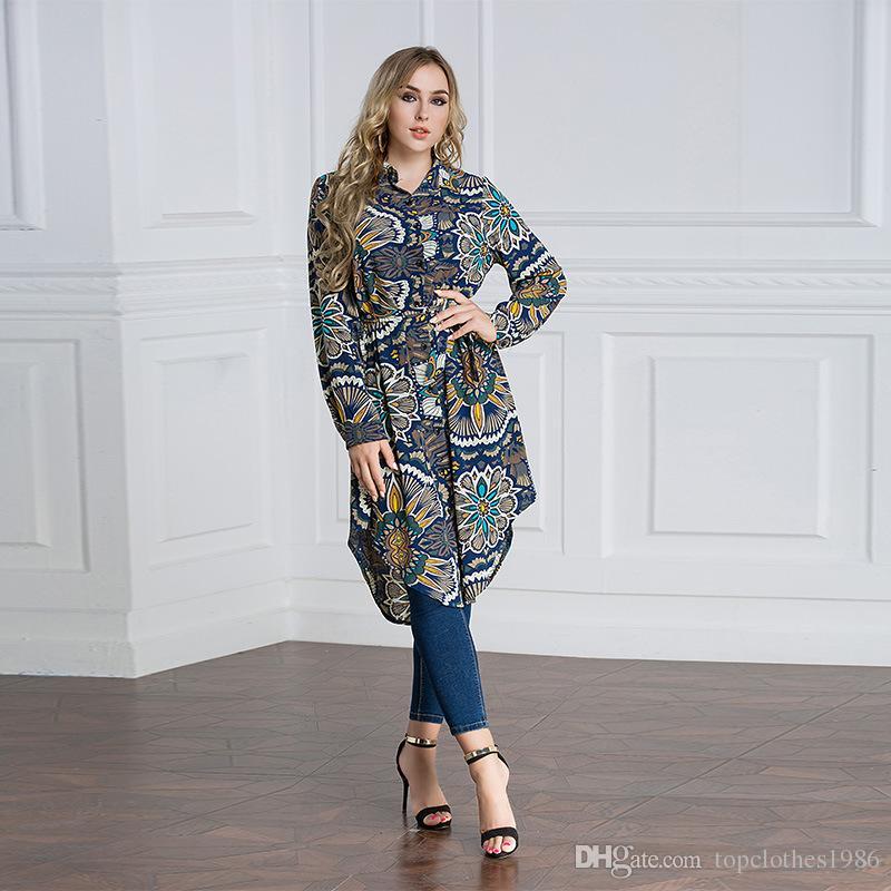 2018Top kalite kadın Artı Boyutu Gömlek 7XL 6XL 5XL 4XL 3XL-M Islam Müslüman Uzun kollu Uzun gömlek Elbise zarif kadın Moda Gömlek Bluz
