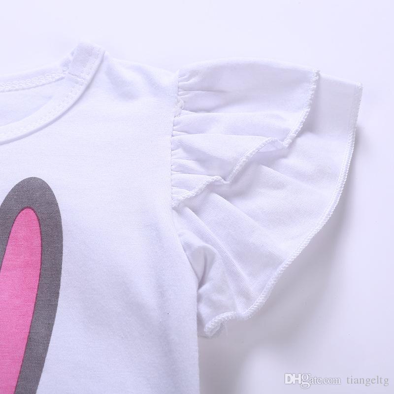 Nouveau T-shirt Jupe Costumes Bébé Filles Deux-pièces Vêtements Ensembles Lapin De Bande Dessinée Imprimé Chemise Rose Court TUTU Jupe En Coton Respirant D'été 1-5T