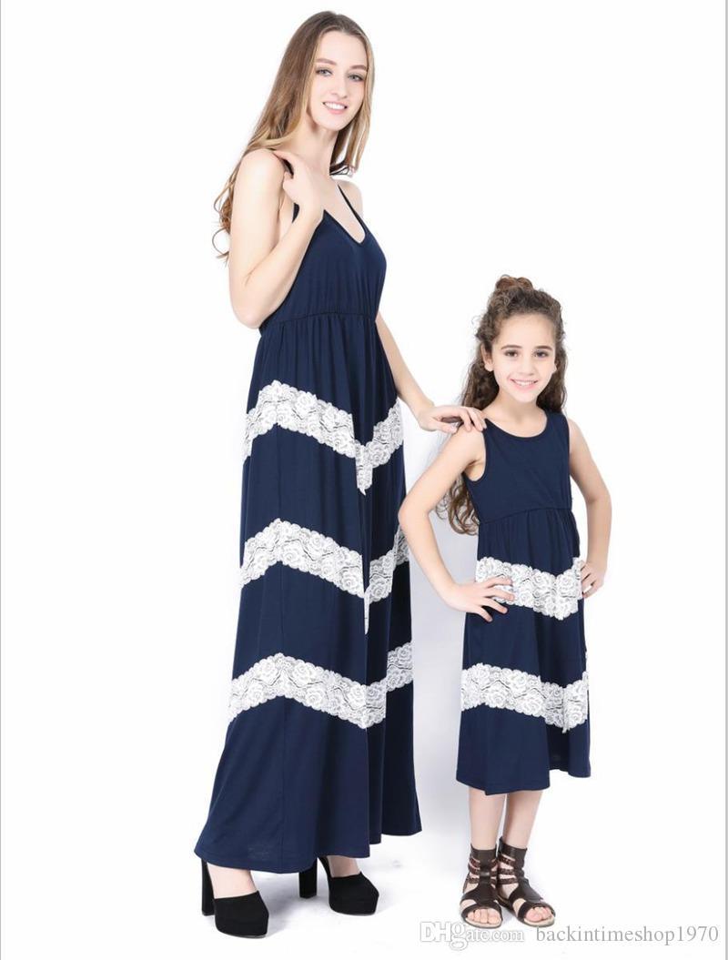Uguagliano vestiti solidi neonate vestito dalla rappezzatura Kids Family Abiti Madre e figlia genitori Summer Long Outfits