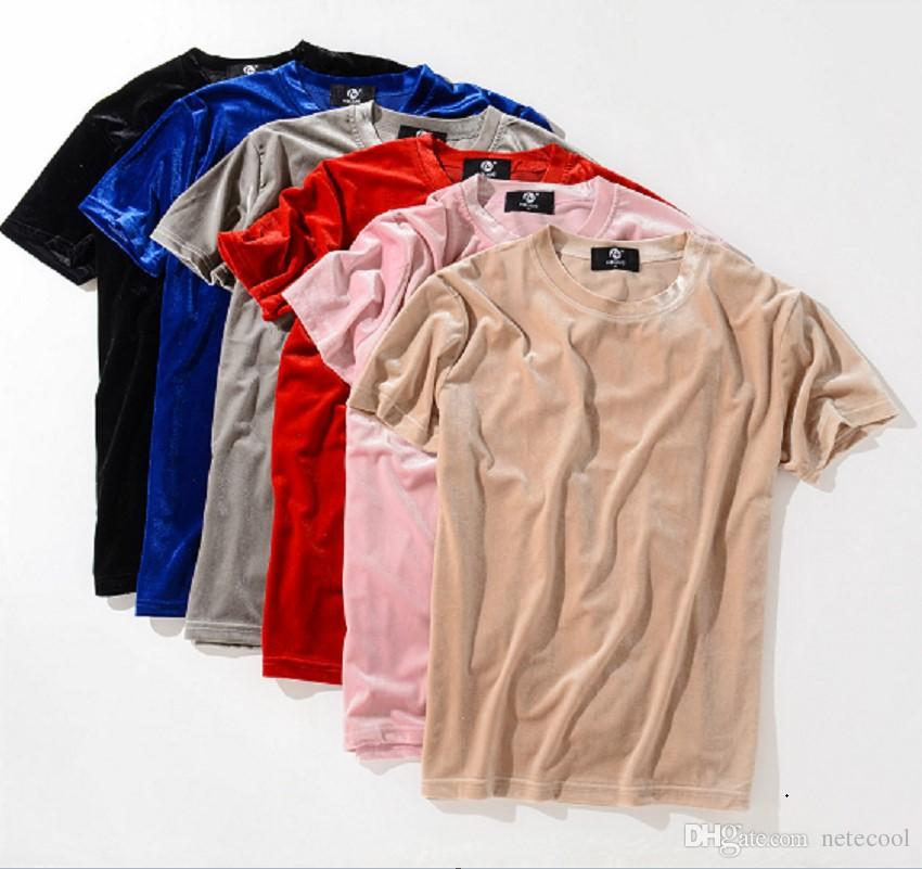 Men's Clothing Men Summer New Streetwear Solid Color Fashion Velour T Shirt Slim Fit Mens Hip Hop Short Sleeve Kanye West Swag Velvet Top Tees T-shirts