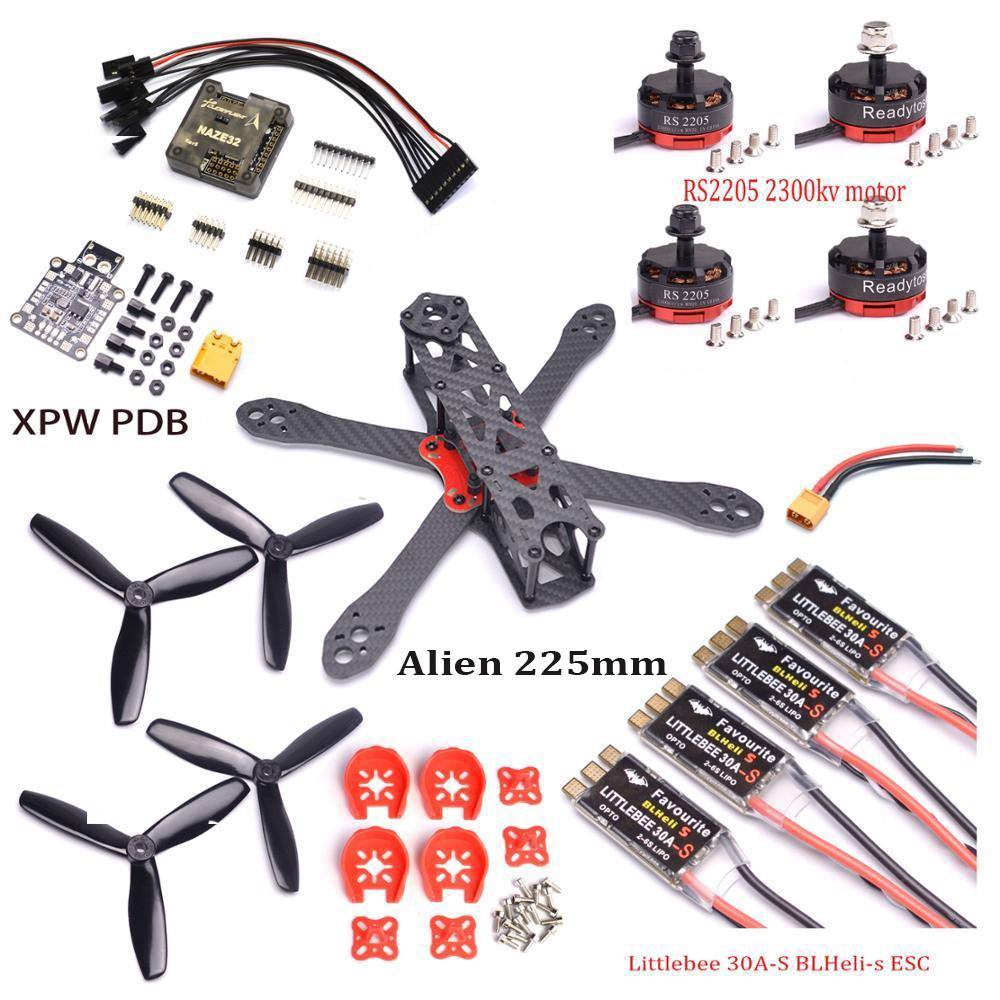 Alien Fpv Quadcopter Frame 225 225mm Carbon Fiber W/ 4mm Arm Naze32 ...