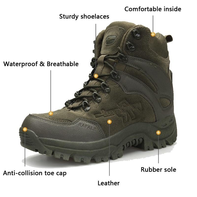Winter Mens Military Tactical Boots Leather Desert Outdoor Combat Army Boots  Hiking Shoes Travel Botas Male Trekking Snow Boots Size 11 12 Military Boots  ... 141e9d24838