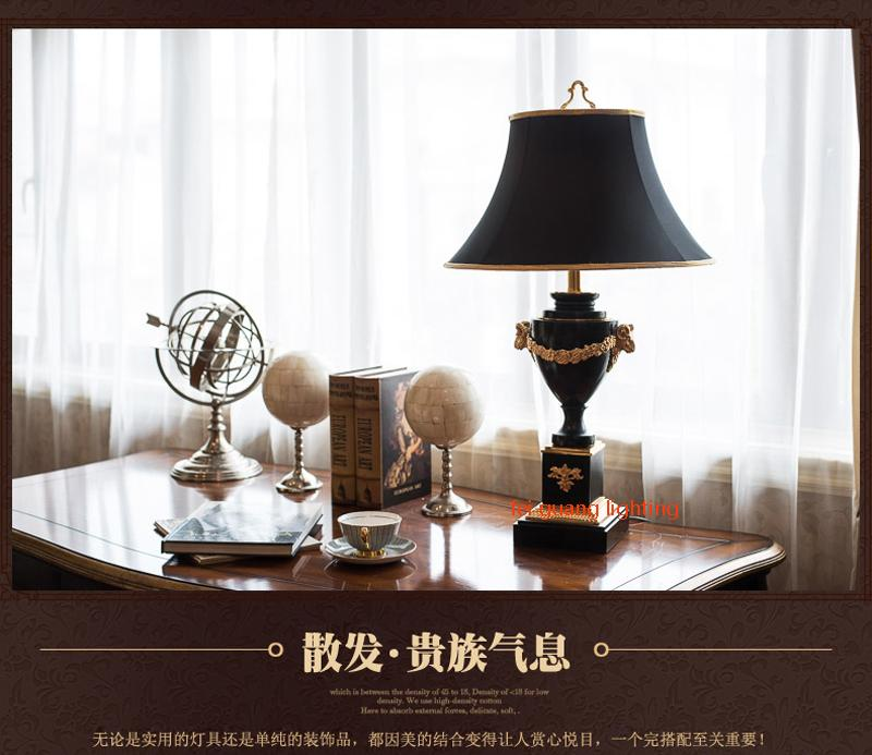 Marble large table lamp Living room table lamp black luxury villa Hotel bedroom bedside classical table lamp