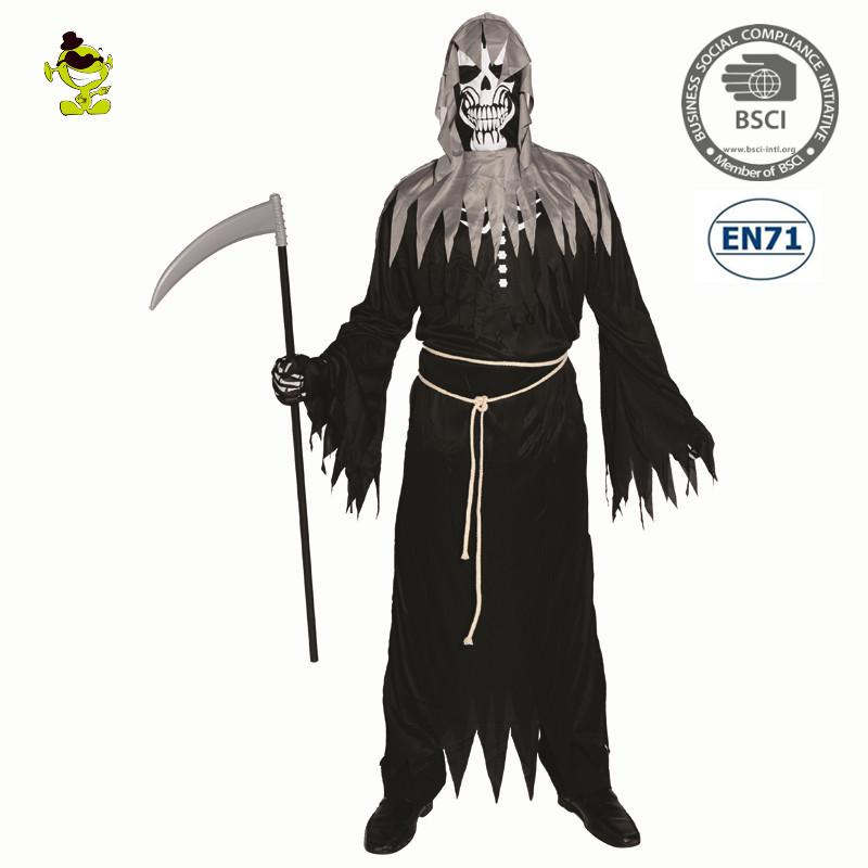 Halloween Costumes Scary Men.Men S Angel Of Death Costume With Long Black Robe Scary Devil Role Play Outfits For Halloween Carnival Party Shredded Robe Cloth