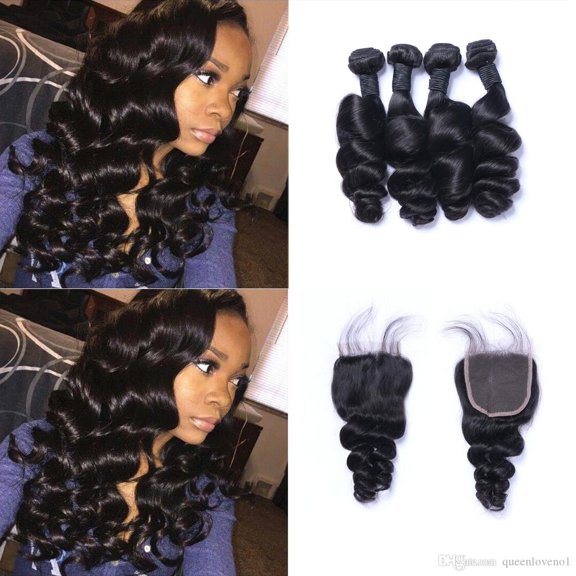 4 Bundles Malaysian Curly Hair With Lace Closure #27 Honey Blonde Bundles With Closure 100% Human Hair Extensions Double Weft Durable Service 3/4 Bundles With Closure Hair Extensions & Wigs