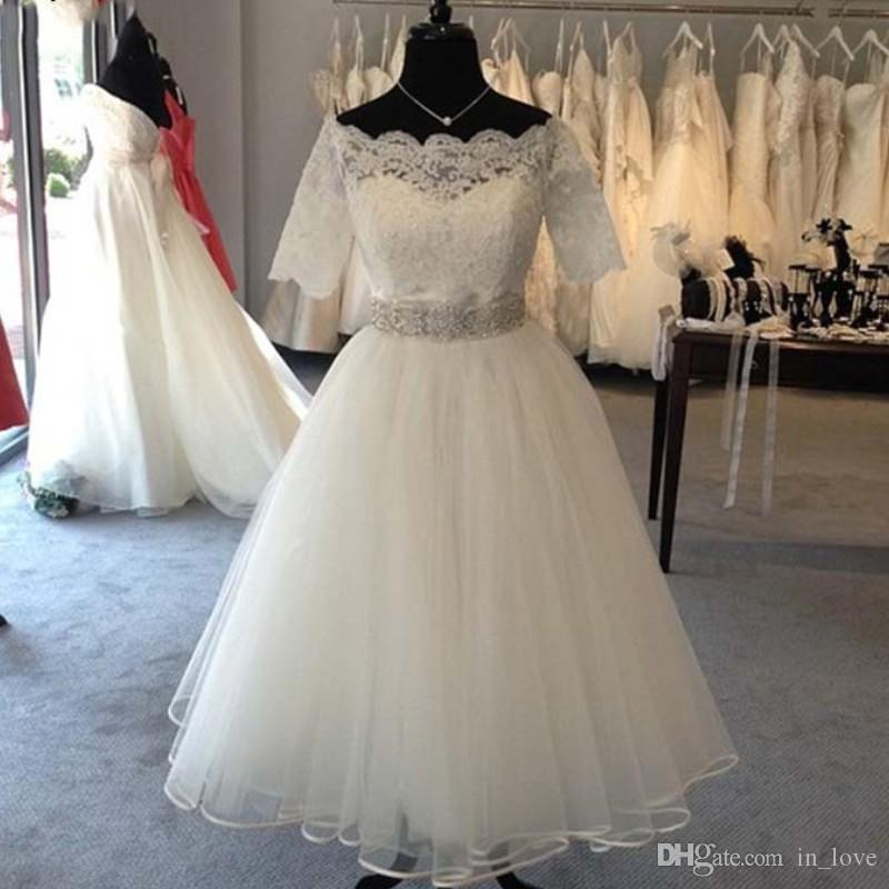 a244640990f Discount Real Image Tea Length Short Wedding Dresses Short Sleeve Boat Neck  Crystals Beadings Belt Lace Bridal Gowns Vestido De Noiva Custom Size A  Line ...