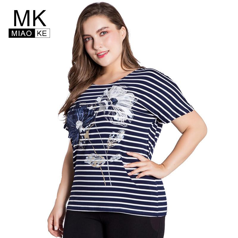 ea1b0c637909f Miaoke Plus Size T-shirt for Women Clothes 2018 Summer Fashion Short-sleeved  Striped Round Neck Embroidery Tops 4xl 5xl 6xl T-Shirts Cheap T-Shirts  Miaoke ...