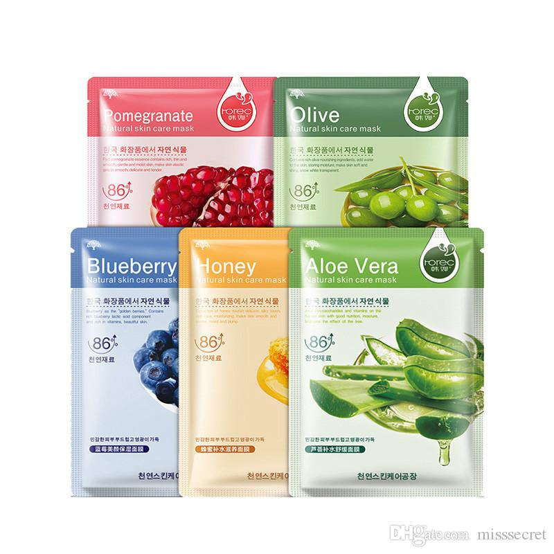 Plant Facial Mask Moisturizing Oil Control Blackhead Remover Face Mask Blueberry Aloe Olive Honey Pomegranate Cucumber Masks