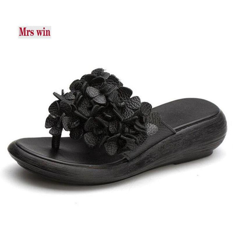 1cc263f8cf5d1 2018 New Flower Genuine Leather Shoes Woman Flip Flop Wild Retro ...