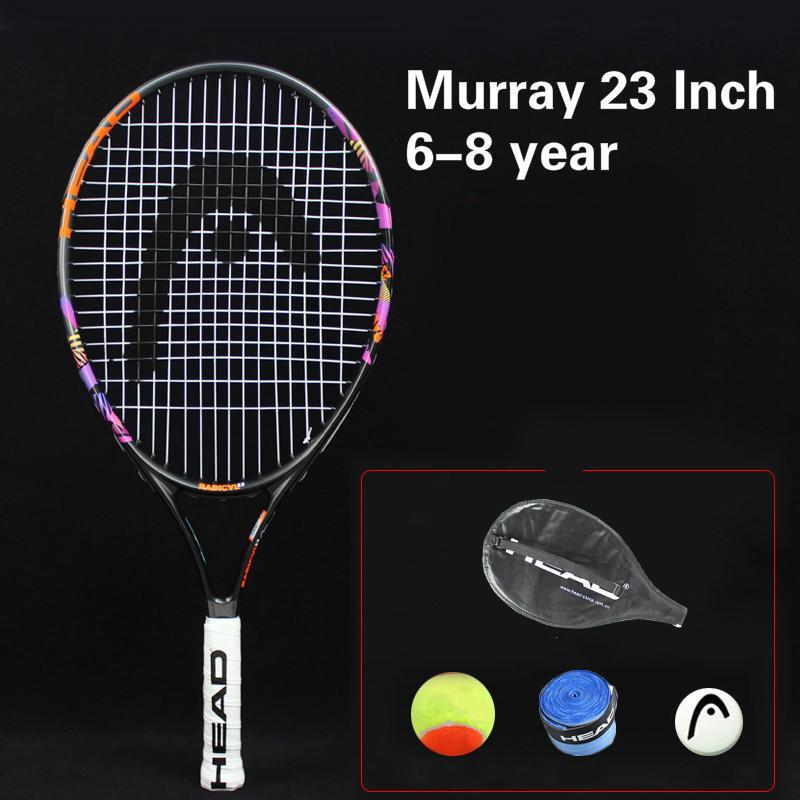 51b0d0b9e Compre Cabeça 21 23 25 Polegada Júnior De Fibra De Carbono Raquete De Tênis  Para Crianças Juventude Murray Murray Training Rackets Com Saco Absorvente  De ...