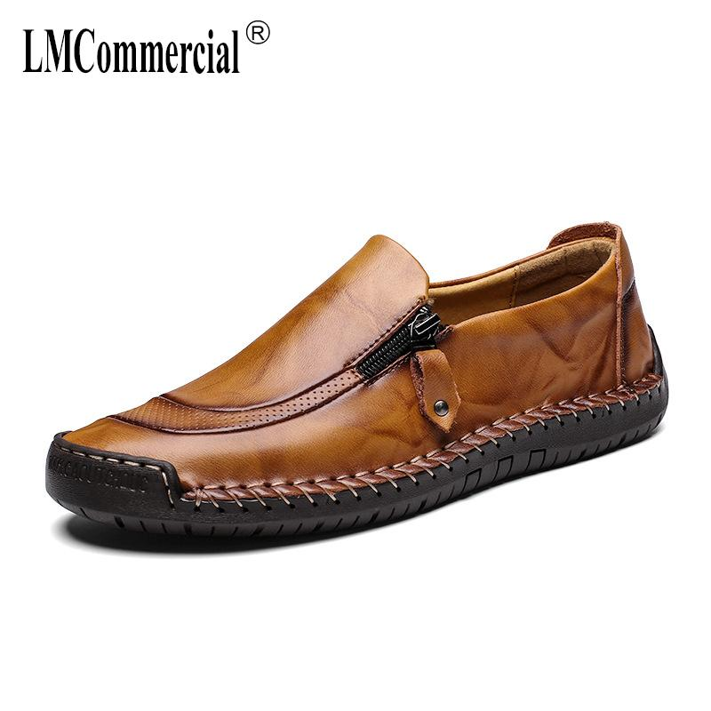 d23d76ba467 Mens Casual Shoes Lazy Big Size 38 48 Men Casual Natural Leather Loafers  Spring Autumn Designer Shoes Men High Quality Fashion Footwear Sport Shoes  From ...
