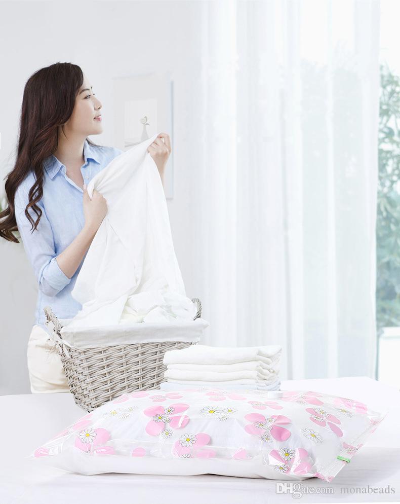 Vacuum Storage Bag Clover Pattern Hand Pump Foldable Quilt Storage Bags Clothes Vacuum Compressed Bag