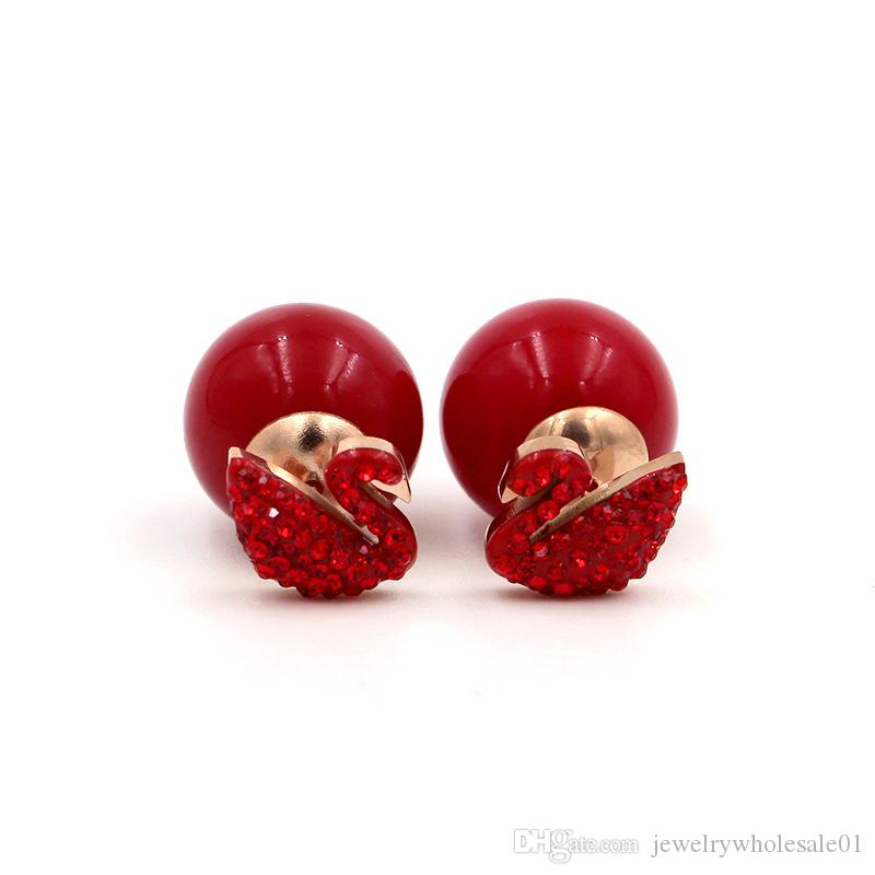 Swan Earrings New Year Large Red Full Diamond Swan Bead Titanium Steel Plated Rose Gold Stud Earrings China Red Jewelry Pearl Earrings