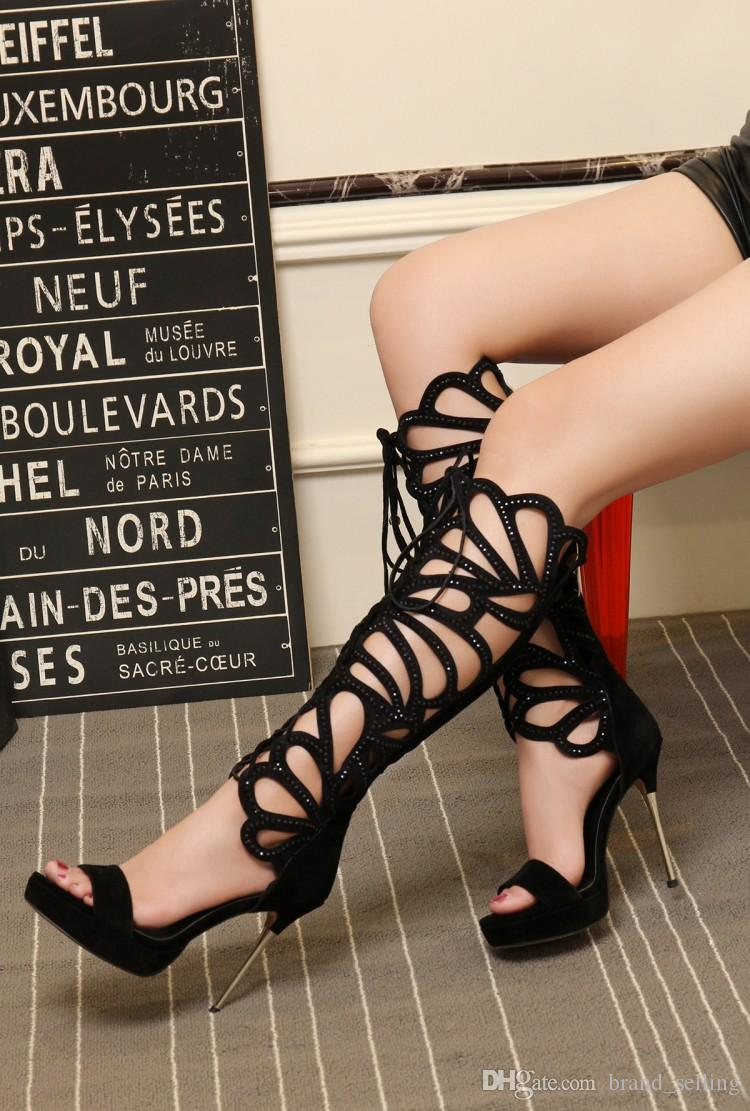 Woman's crossover strap Black Solid Thigh-High sandals knitted exclusive custom female sexy 8cm High-heeled Cut-Outs diamond cool boots