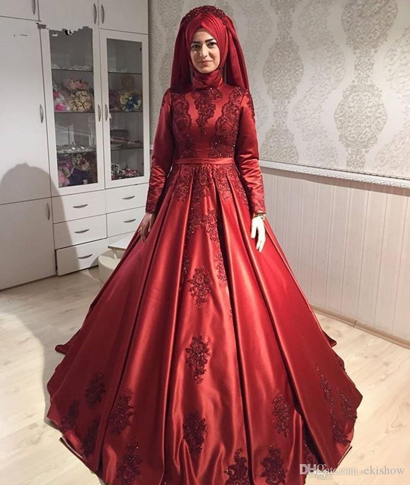 2018 Modest Muslim Burgund Stehkragen Spitze Appliques A-Linie Abendkleider Elegant Satin Lange Ärmel Formale Langes Kleid Party Kleider