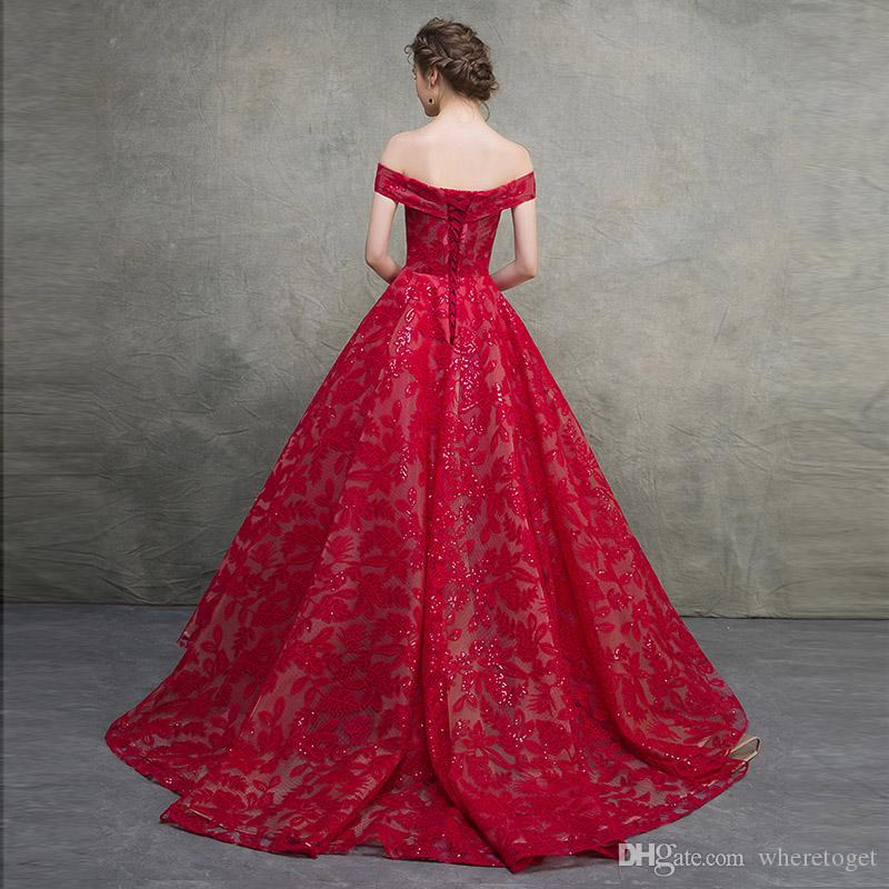 Luxury red victorian Ball Gown Wedding Dresses 2018 full Lace Sexy V Neck off shoulder lace up corset plus size bridal Wedding Gowns