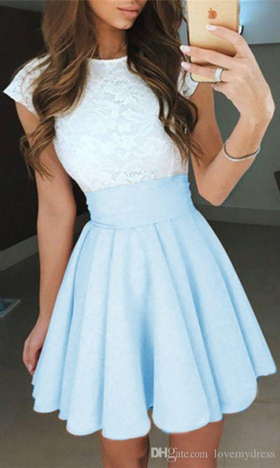 2020 Light Sky Blue Lace Graduation Short Prom dresses Bateau Neck Satin Ruched Mini Homecoming Party Cocktail Dress For Girls Formal