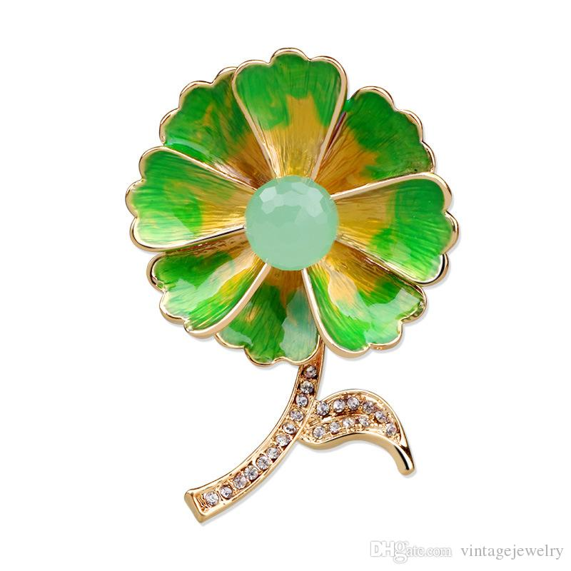 Fashion Personality Enamel Pearl Crystal Flower Brooch Clothing Accessories Gift For Women and Men YP3261