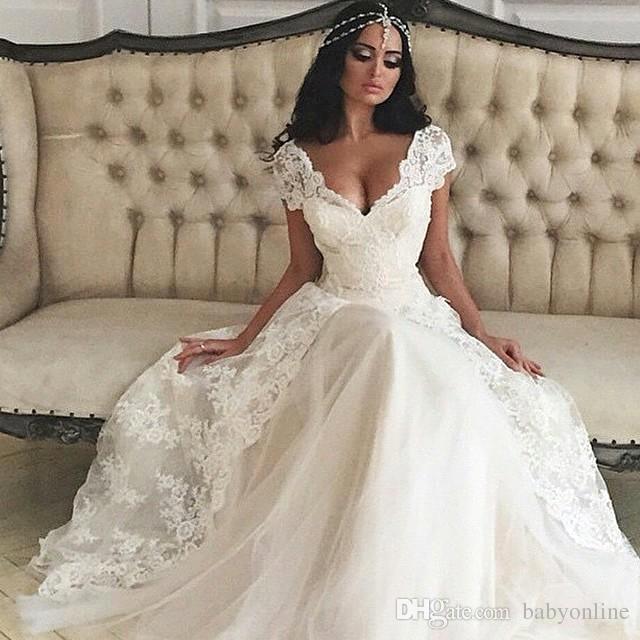 compre vestidos de novia 2019 cap mangas vestidos de novia una línea