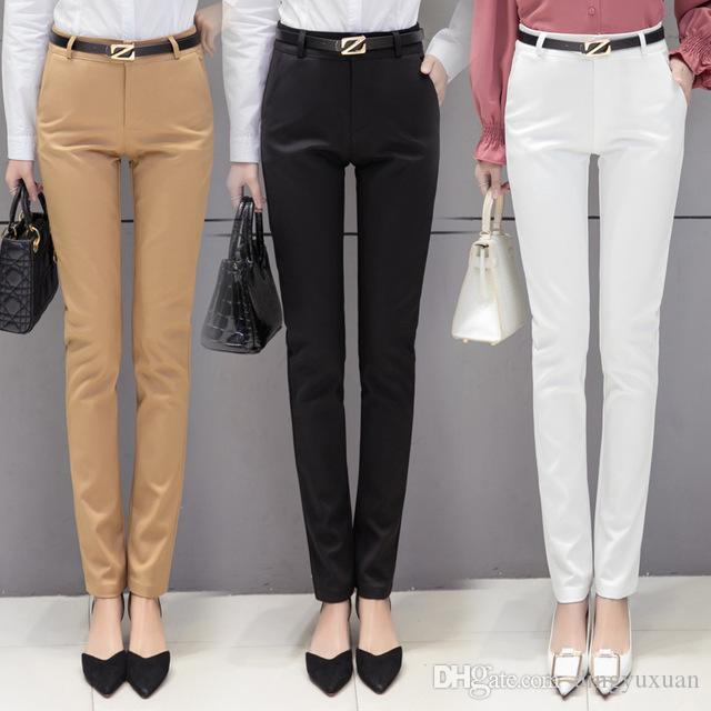 322c5700191c3 Acheter Style Coréen Femmes Automne Formel Crayon Pantalon Solide Noir Kaki  Blanc Bleu Bureau Dames De La Mode Costume Skinny Pantalon Long Pantalon  Femme ...