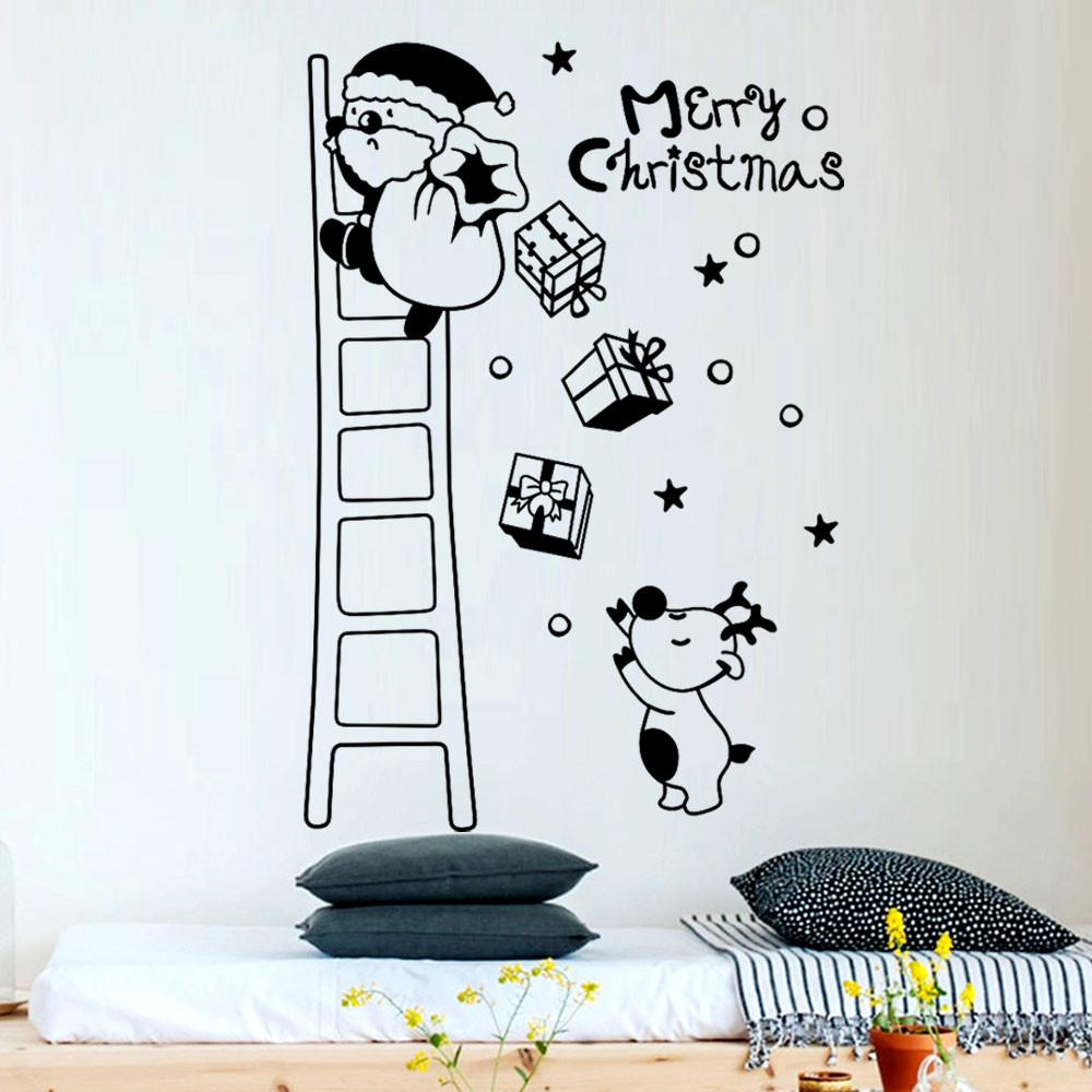 Removable wallpaper cute santa claus climb ladder wall sticker for living room kids room bedroom home wall decoration decoration stickers for walls