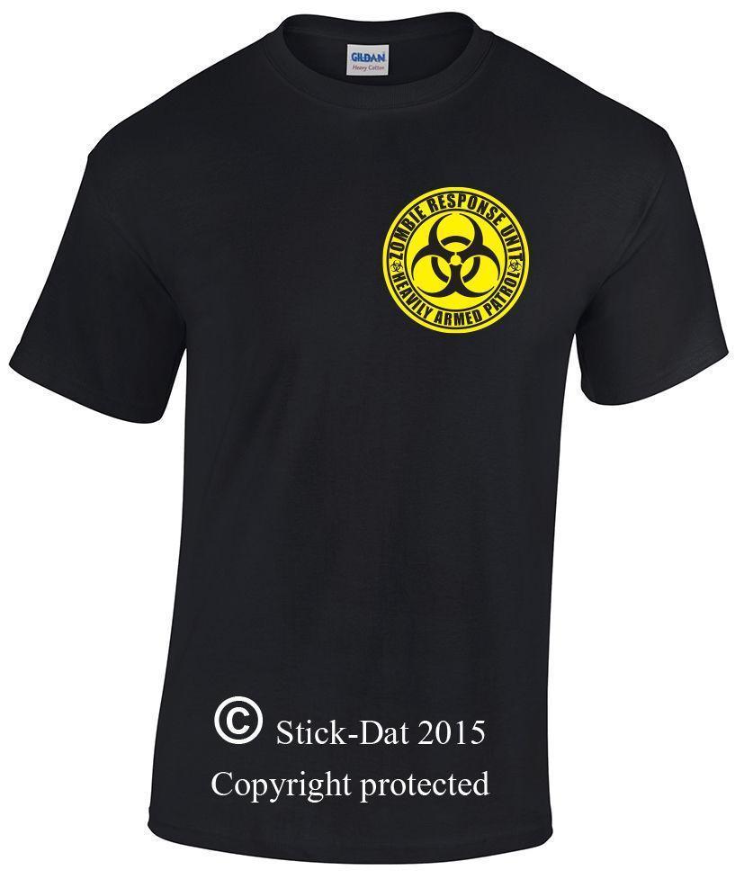 Mens Zombie response unit heavily armed patrol shirt 100% cotton hazard  walking