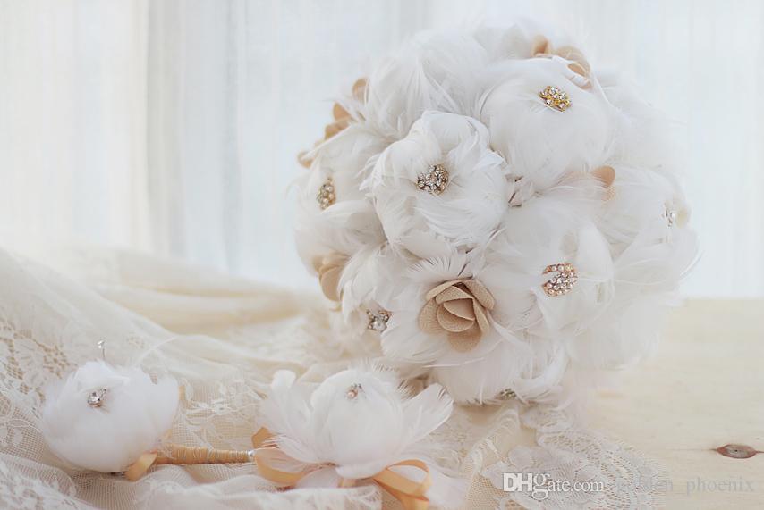 2018 Beyaz safir tüy düğün buket ile High-end özel DIY gelin buketi