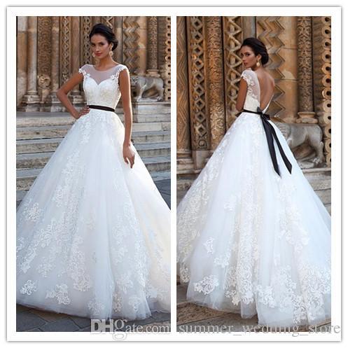 Discount Vestido De Noiva Cap Sleeves Bridal Gowns A Line Black Sash