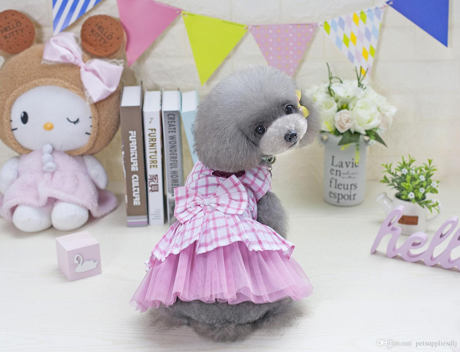 E21 New arrival Sweety Pet Dog Grid Dress Clothes Flower Puppy Dog Cat Pricess dress shirt Three Color dress for Yorkie