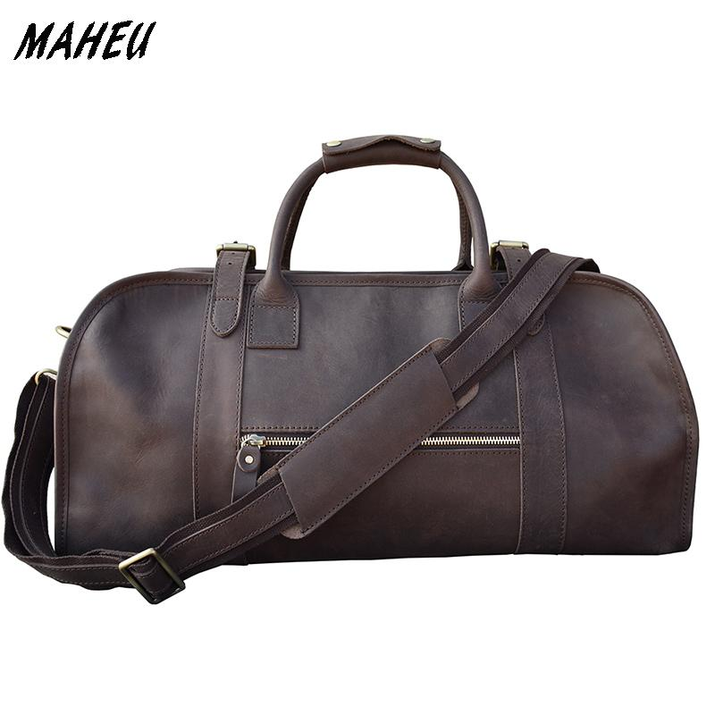 0eff7a102c0f Cheap High Quality Men Vintage Genuine Leather Travel Bag Male Crazy Horse  Leather Tote Bag Casual Plus Size Messenger Shoulder