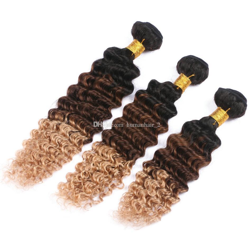 깊은 웨이브 곱슬 인간의 머리카락 번들 3 톤 버진 말레이시아 헤어 익스텐션 딸기 금발 머리 짜다 깊은 곱슬 물결 모양의 번들 /