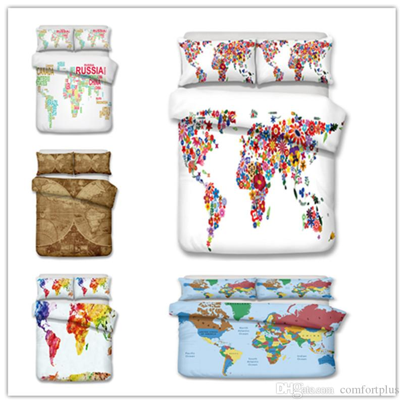 The Map Of The World Design Bedding Set /Cosmetics Duvet Cover Set ...