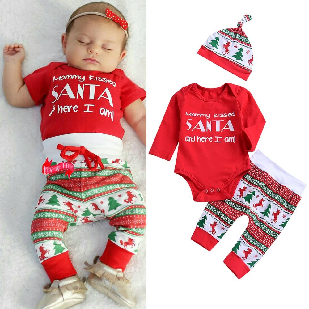 2df8a4b9a3fa2 2019 Puseky 0 24M Infant Baby Christmas Cute Letter Printed Red Romper+Long  Pants+Hat Outfits Xmas Clothing Set From Entent