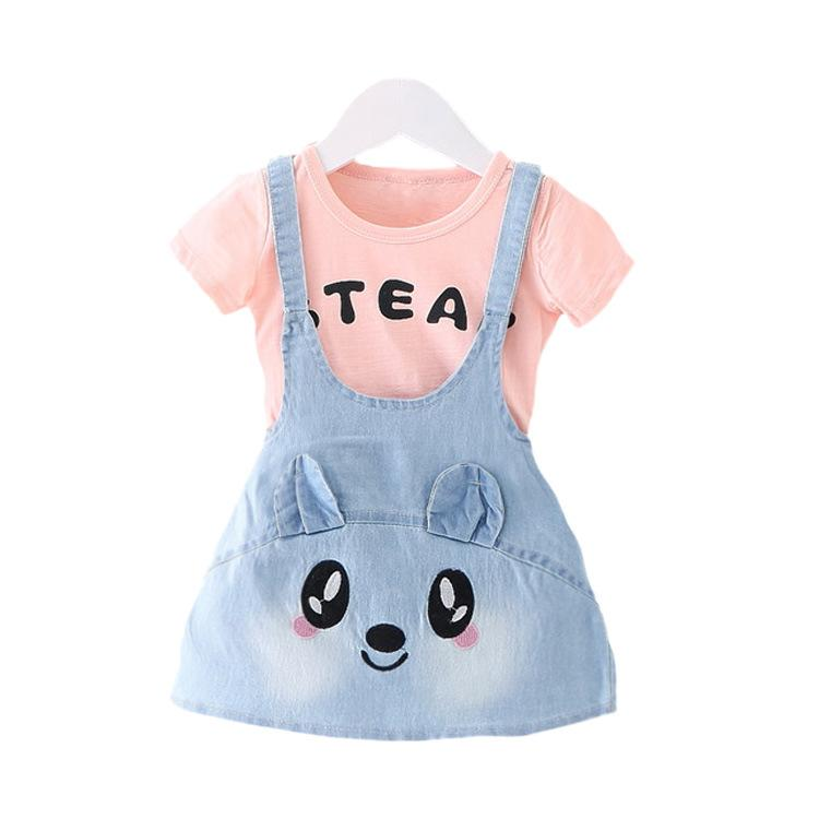 2016 Summer New Girls Jeans Dresses Rabbit Pattern Baby Girl Dresses Kids Demin Girls Dresses Clothes Vestidos Top Quality