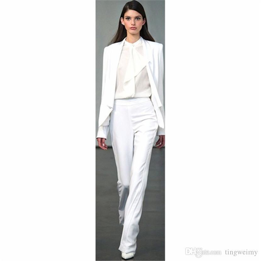 Uniforme Oficina Blanco Chaqueta Pantalón Trajes Negocios Mujer Traje Pantalones De Formales Trabajo Para IHeWD2E9Yb