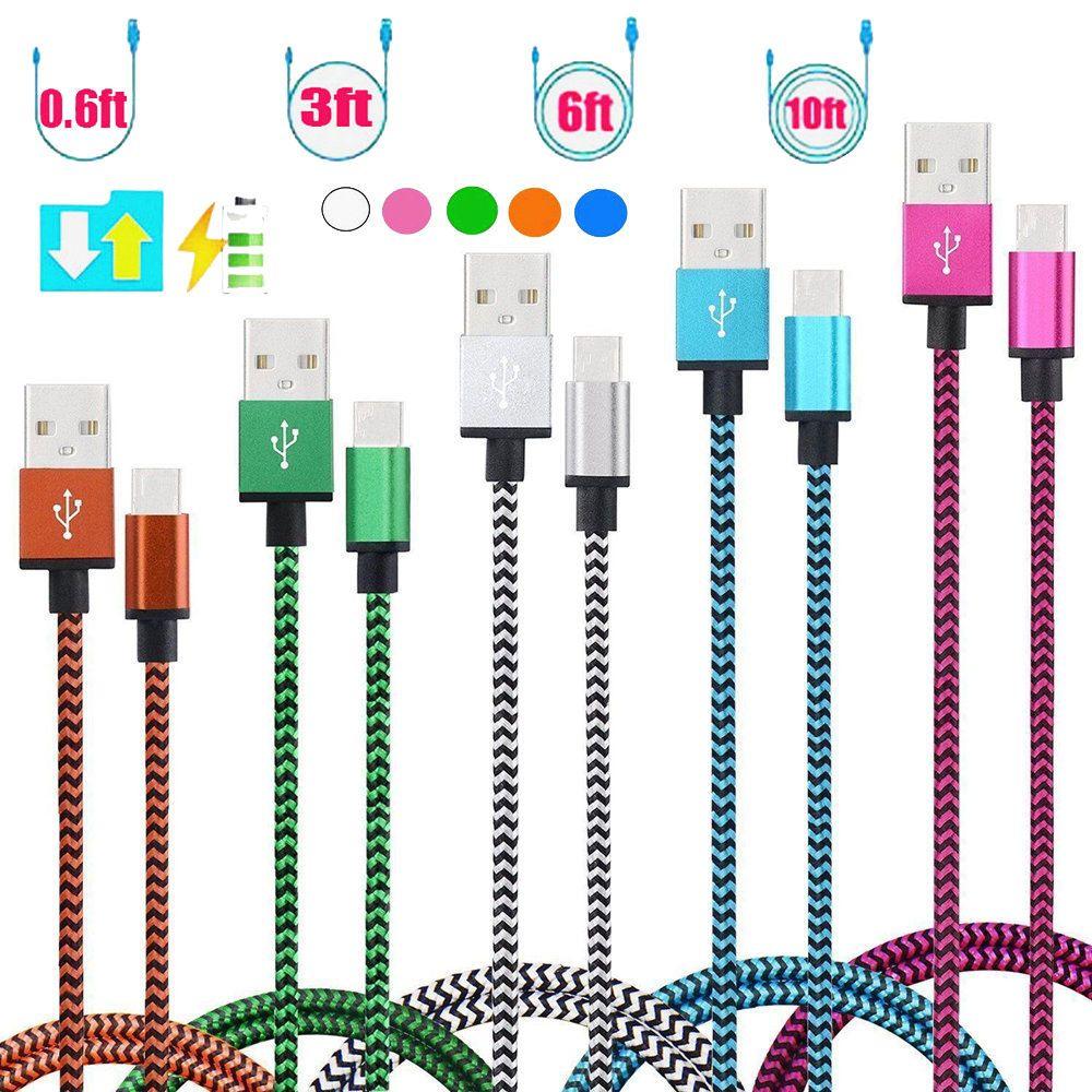 USB a TIPO C Cable micro USB 3 pies 6 pies 10 pies Nylon trenzado USB 2.0 A macho a micro B Sincronización de datos Cable de cargador de carga rápida para Android Samsung